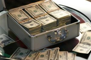 A suitcase filled with money
