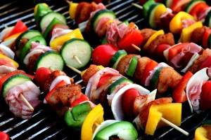 Shish Kebab Meat on a grill