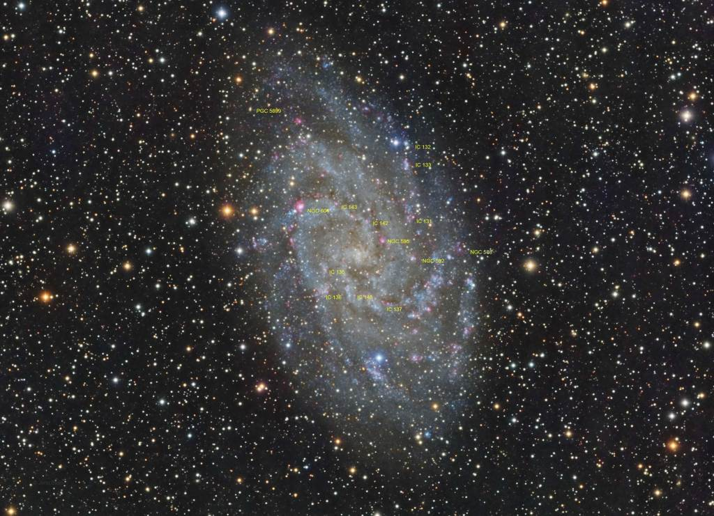 M33 Annotated,Triangulum Galaxy