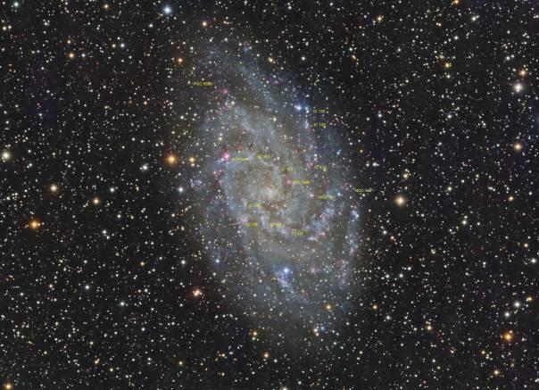 M33 Annotated,Triangulum Galaxy