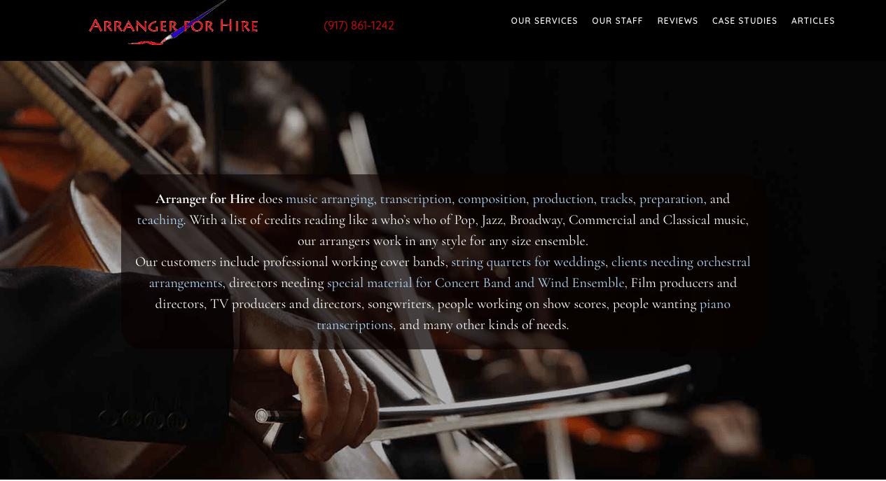 Arranger for Hire Website