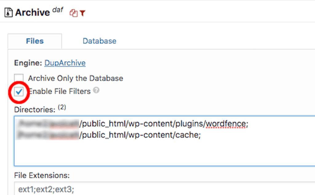 Duplicator File Filter