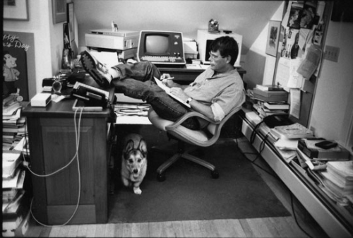 Stephen King writing in office