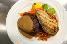 Grilled Sirloin Steak and Breast of Chicken