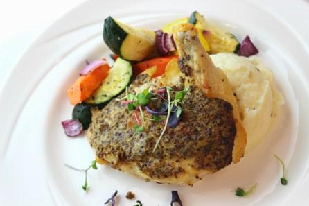 Mustard Seed Chicken, Garlic Mashed Potatoes, and Roasted Seasonal Vegetables