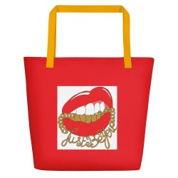 Sac de plage rouge Red Lips