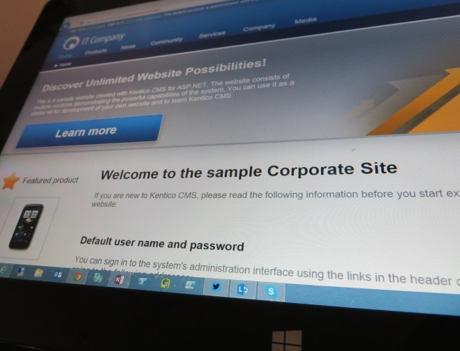 Kentico website running in Internet Explorer 11 on a Surface tablet