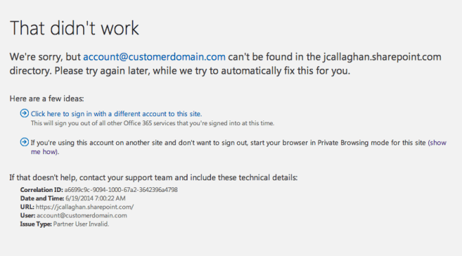 Login error in Office 365