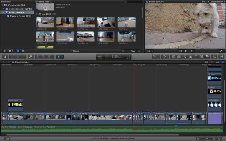 Como es habitual, en cada entrada  que uso para publicar un vídeo, también publico la foto del mismo en el programa de montaje y edición.