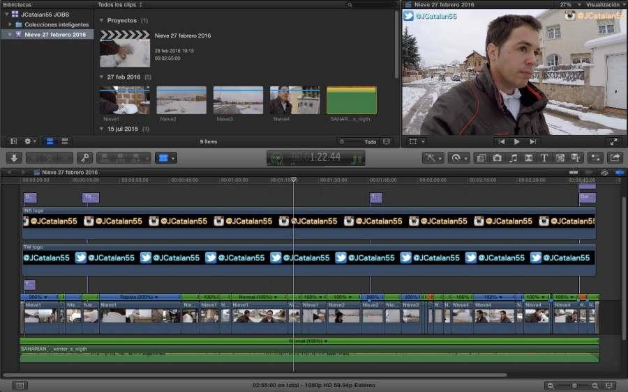La captura de cada uno de mis vídeos dentro del programa de edición y montaje (FCPX).