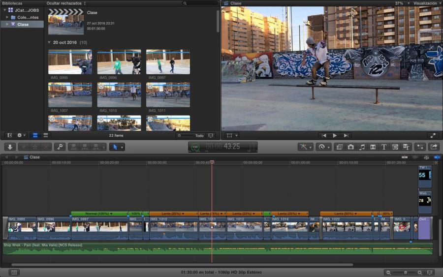 El vídeo dentro de FCPX, algo extremadamente sencillo con unas cámaras lentas. (Click para ampliar)