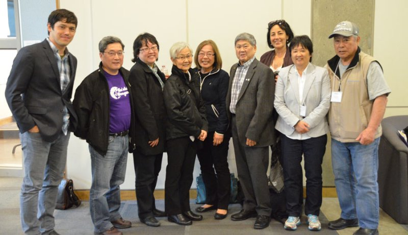 L-R: Jeffrey Masuda, Ken Noma, Sally Ito, Mary Kitagawa, Vivian Rygnestad, Art Miki,  Susanne Tabata, Eiko Eby, Tosh Kitagawa