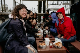 Reiko Pleau (left) and Erica Isomura pause for a photo during lunch at Pajo's in Steveston on Monday, May 20.