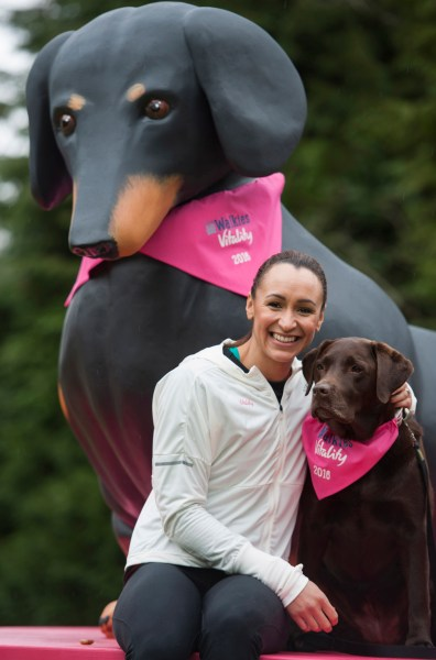Jessica Ennis-Hill takes her dog, Myla, on a short walk and shows that even a few small steps can make a big difference to health. The Olympic Gold medallist is pictured in her home town of Sheffield, showing that even a short walk with the dog can help you get fitter. The Rio-bound sports star is launching 'Big Walkies' in partnership with health and life insurer, Vitality, and the RSPCA - Thursday 24 March 2016. Photograph by Jon Parker Lee. Please credit: Jon Parker Lee. NO SYNDICATION WITHOUT CONSENT. NO THIRD PARTY USAGE.