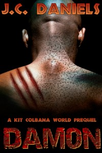 black man facing away, shoulders clawed. DAMON prequel cover