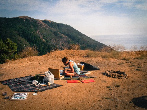 Kate Jane sketching Big Sur.