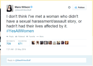 Mara Wilson: I don't think I've met a woman who didn't have a sexual assault/harrassment story, or hadn't had their lives affected by it. #YesAllWomen