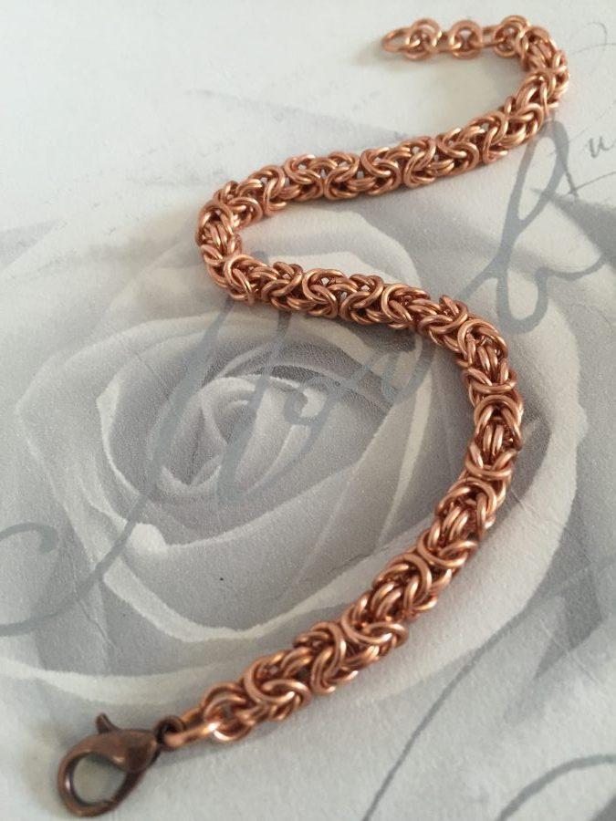 Womens Slender Pure Copper Byzantine Chainmail Bracelet - CB02