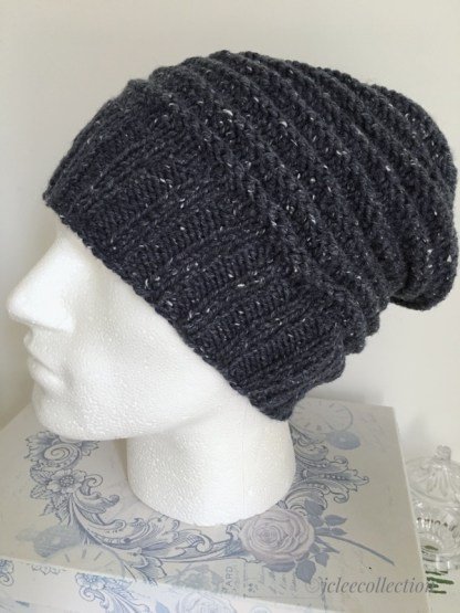 ec06fe19fbd Mens Textured Airforce Blue Slouchy Beanie Hand Knitted Winter Hat ...