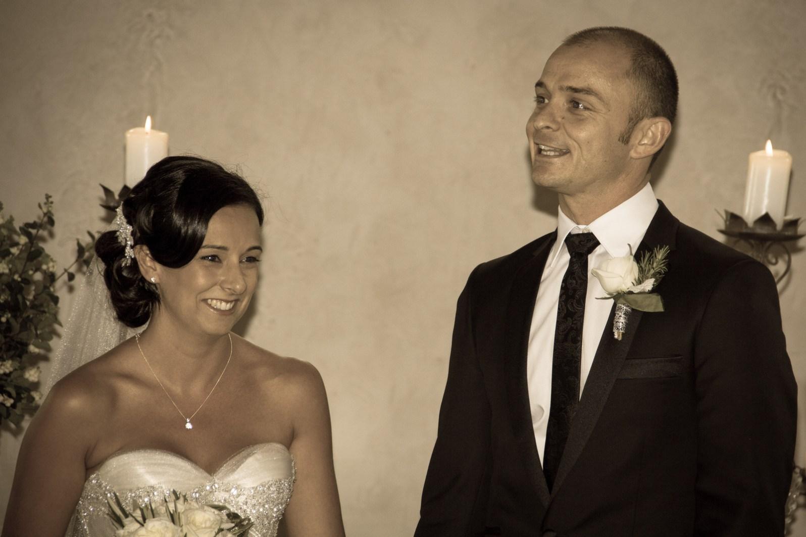 Nick & Julia standing in the wedding chapel
