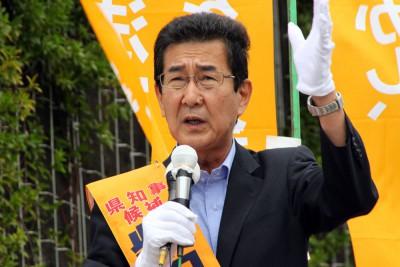 訴える柴田候補=2015年7月23日、さいたま市