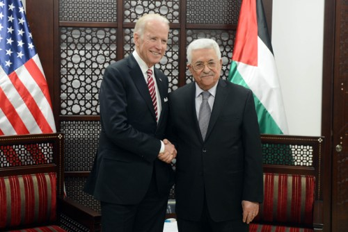 Vice President Biden meets the Palestinian Authority's Mahmoud Abbas in 2016.
