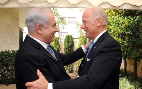 Prime Minister Netanyahu welcomes then-Vice President Biden to Israel in 2010.