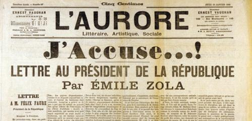 'L'Aurore : 'J'accuse' by Emile Zola about Dreyfus. January 13th, 1898
