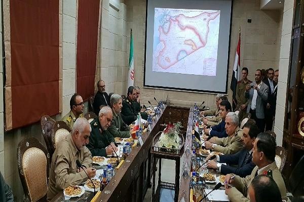 שר ההגנה האיראני בפגישה עם בשאר אסד בדמשק, 26.8.2018 תמונה מאתר משרק'ניוז, המזוהה עם משרד המודיעין האיראני