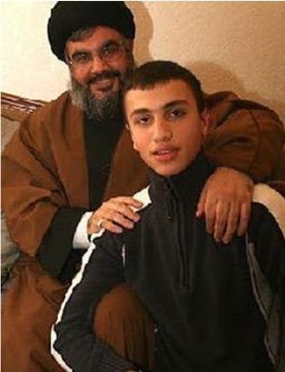 Hizbullah leader Hassan Nasrallah with a young Jihad Mughniyeh