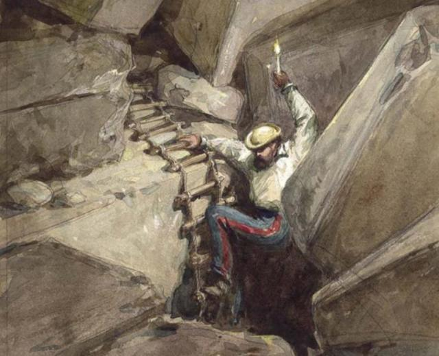 "Charles Warren's exploration: ""Fallen Voussoirs of Robinson's Arch. Jerusalem"" (Palestine Exploration Fund, painting by W. Simpson, 1869)"