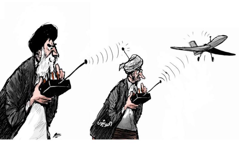 """קריקטורה-מי מפעיל את המל""""טים שתוקפים את סעודיה-המורדים החות'ים בתימן או איראן?"""