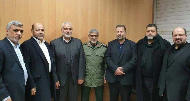 פגישה בטהראן - ראשי ציר ההתנגדות בראשות איראן: מפקד כח אל קודס החדש קאני, אימעיל הנייה וזיאד נחלאה