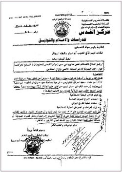 "December 2000. Letter from Palestinian intelligence officer Col. Mahmoud Abu Samra to President Yasser Arafat accusing Israel of planning ""to destroy the Al-Aksa Mosque by creating an artificial earthquake."" Arafat ordered that the letter be distributed to key Palestinian leaders in eastern Jerusalem."