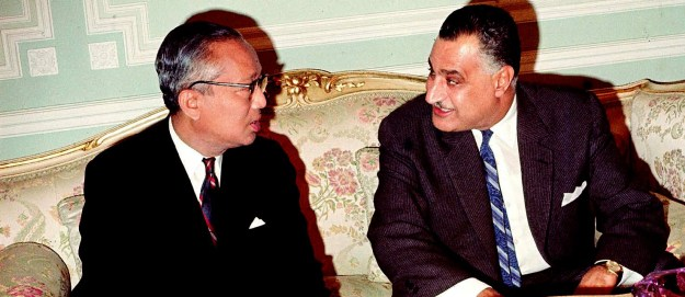 Egyptian President Gamal Abdel Nasser with UN Secretary General U Thant, May 24, 1967, two weeks before the outbreak of the Six-Day War. Thant agreed to Nasser's request to withdraw UN Emergency Forces that had been stationed in Sinai as a buffer since the 1956 war. Nasser replaced the UNEF with Egyptian military divisions ready to attack Israel, precipitating the outbreak of hostilities.