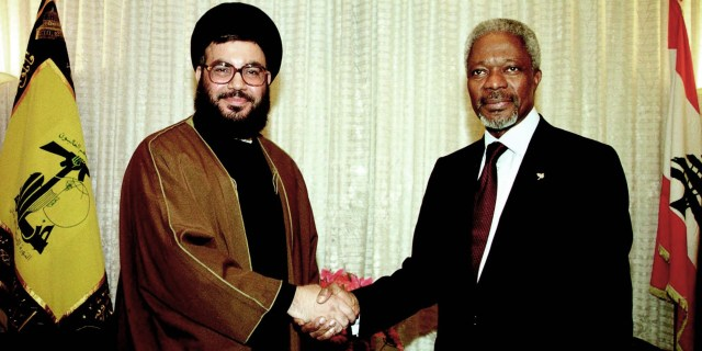 UN Secretary General Kofi Annan with Hizbullah leader Sheikh Hassan Nasrallah in Lebanon, June 20, 2000. The meeting enhanced the political legitimacy of Hizbullah, an international terrorist organization.