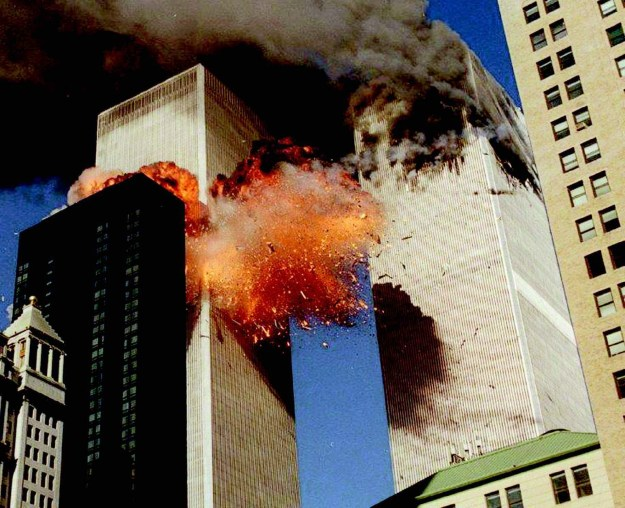 A jet airliner hijacked by al-Qaeda terrorists plunges into the south tower of the World Trade Center on September 11, 2001, in the worst terror attack in U.S. history. The 9/11 attacks underscored the importance of Israeli control of a unified airspace above Israel and a prospective Palestinian state.