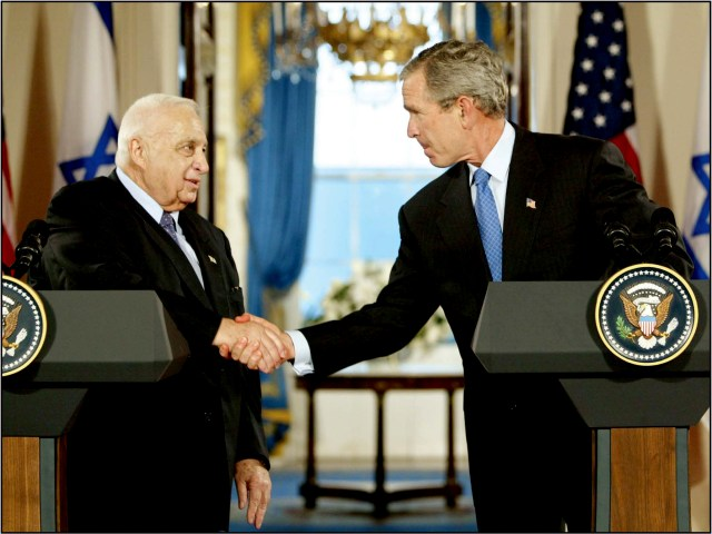 President George W. Bush and Israeli Prime Minister Ariel Sharon at the White House, June 14, 2004.Sharon exchanged letters with Bush in which Israel committed to withdraw from Gaza and the United Statesendorsed defensible borders for Israel.