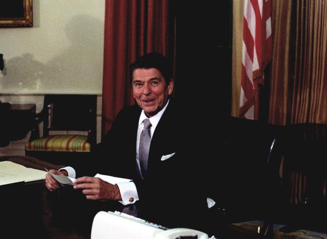"President Ronald Reagan, January 20, 1981. The 1982 Reagan Plan called for Israel to retain defensible borders, while his secretary of state, George Shultz, stated explicitly, ""Israel will never negotiate from or return to the 1967 borders."""