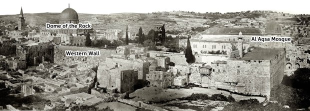 Temple Mount / Haram al Sharif panorama, 1864, (Palestine Exploration Fund) Showing the Dome of the Rock on the left, the Western Wall beneath it and the Al Aqsa Mosque on the right.