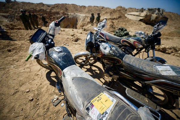 These motorcycles were found in a Hamas terror tunnel inside Israel on August 3, 2014. Hamas terrorists could have used them to infiltrate deeply into Israel and quickly return to Gaza with hostages. (IDF/Flickr)