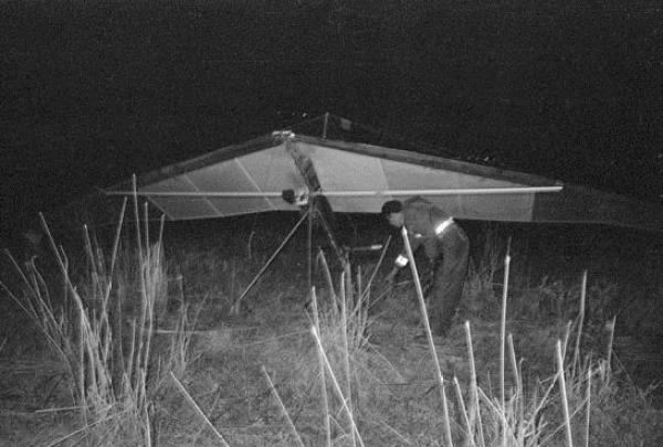 The hang glider used in 1987 to attack northern Israel. Six IDF soldiers were killed. (Ministry of Defense archives)