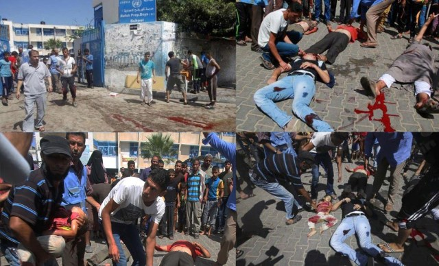 Top left: Entrance to an UNRWA school in Rafah, Aug. 3, 2014. Islamic Jihad fighters on a motorcycle were killed outside the school; their bodies were dragged into the school's courtyard, creating the impression that the IDF targeted the school. Note the bloody drag marks. Top right: The bodies are arranged in the school yard. Note how the pavement is different from the street in the previous photo. Bottom left: An UNRWA staffer (blue vest) oversees the placement of a girl's body. Note how the UNRWA building now appears closer. Bottom right: The tableau is complete. Note the shadows of the many photographers. (AFP)