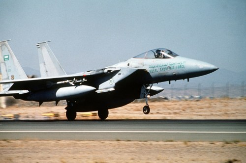 A Saudi F-15 fighter aircraft