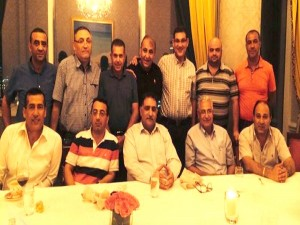 Azmi Bishara (front center) hosting Nazareth and Sakhnin soccer organizations in Qatar