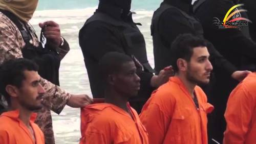 Coptic Christians about to be killed as shown from an image taken from an ISIS Video
