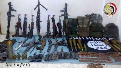 Egyptian military photo shows a weapons cache seized from IS-linked jihadists in the Sinai Peninsula (Facebook/Egyptian army)