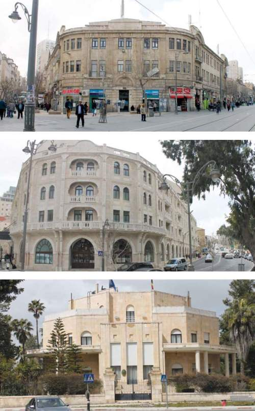 In an attempt to implement the right of return in Jerusalem as well, the Palestinians prepared a list of 7,000 buildings that were under Arab ownership before 1948. Above, from top to bottom, appear three of these buildings: the Sansour Building in Zion Square, the Palace Hotel building on Agron Street, and Villa Salameh in the heart of the Talbiyeh neighborhood. (Photographs: Ariel Shragai)