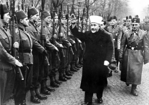 Amin al Husseini greeting Bosnian Waffen-SS