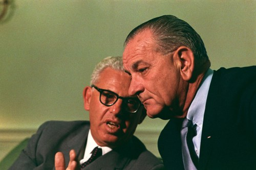 UN Ambassador Arthur Goldberg consulting with President Lyndon B. Johnson (LBJ Library photo by Yoichi Okamoto)